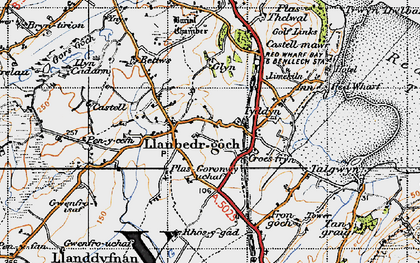 Old map of Ynys Isaf in 1947