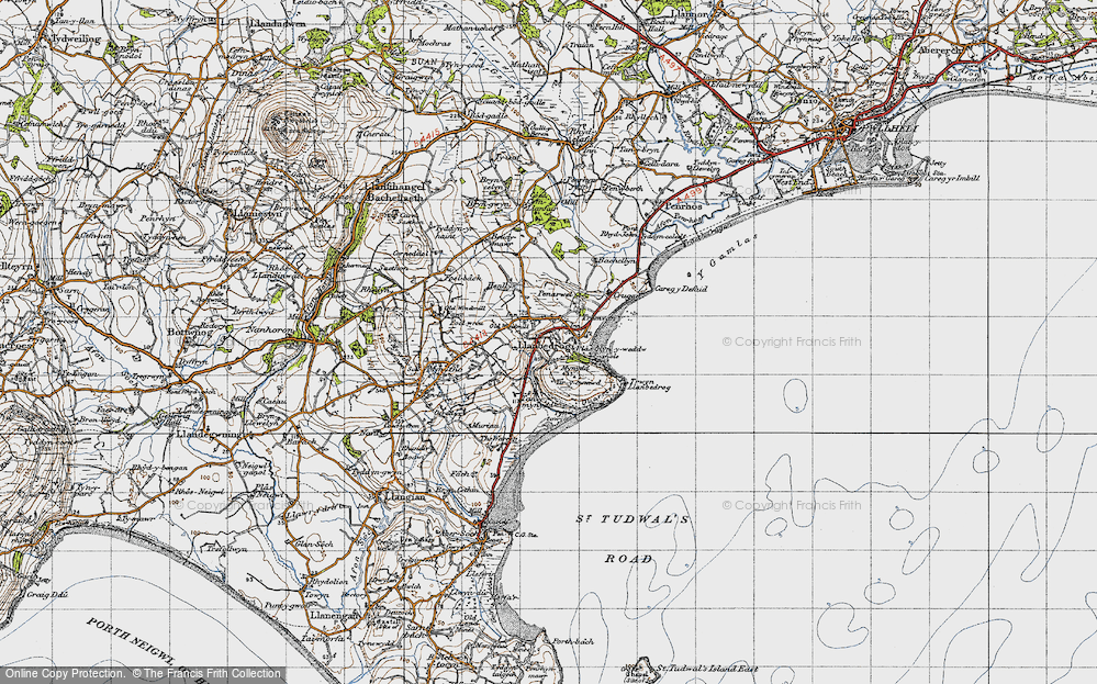 Old Map of Historic Map covering Bachellyn in 1947