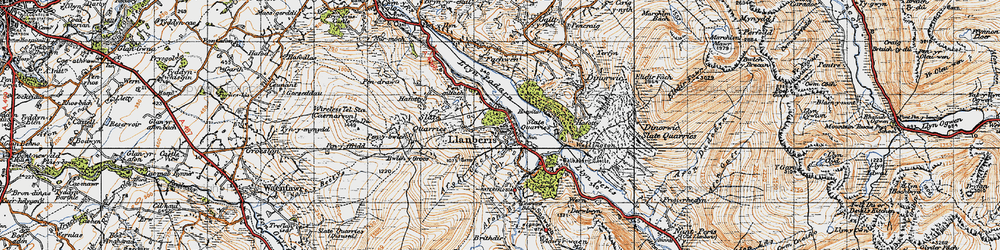 Old map of Llanberis in 1947