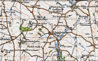 Old map of Afon Gronw in 1946