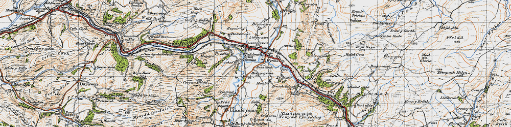 Old map of Llanbrynmair in 1947