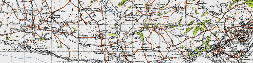 Old map of Llancadle in 1947