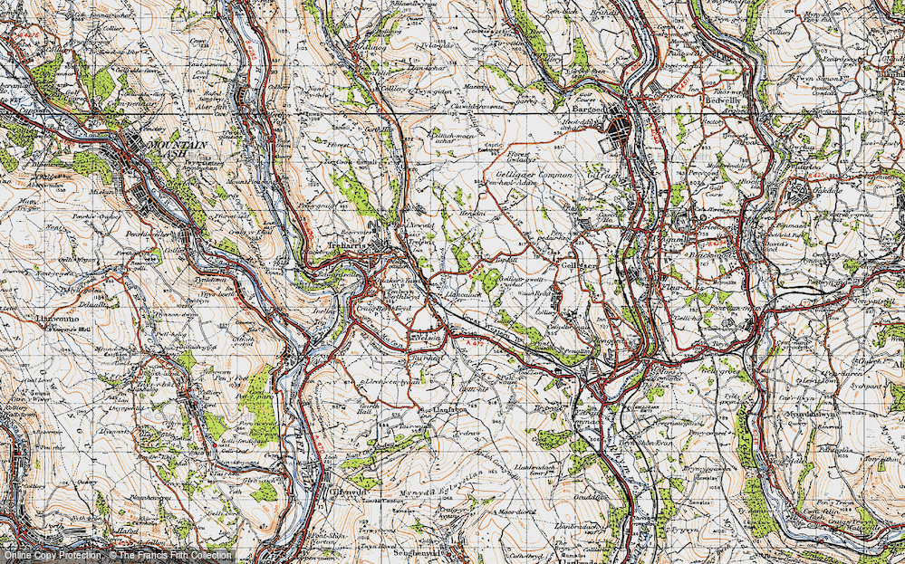 Old Map of Historic Map covering Tir-y-rhen in 1947