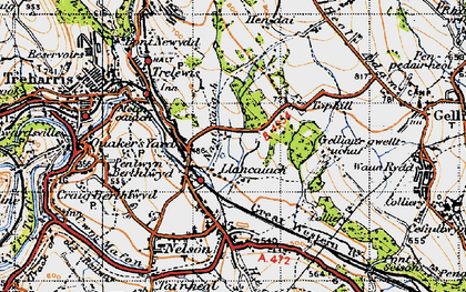 Old map of Tir-y-rhen in 1947