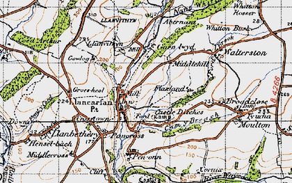 Old map of Llancarfan in 1947