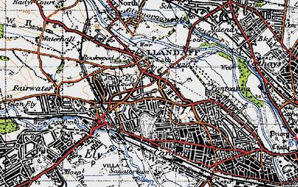 Old map of Llandaff in 1947