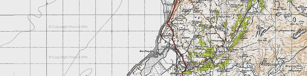 Old map of Llandanwg in 1947