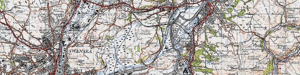 Old map of Llandarcy in 1947