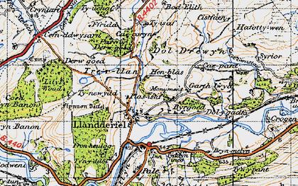 Old map of Llandderfel in 1947