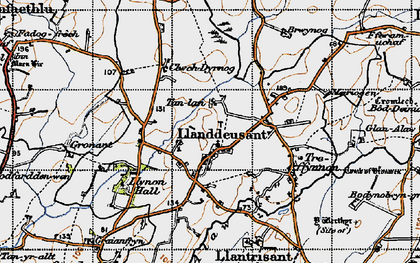 Old map of Llanddeusant in 1947