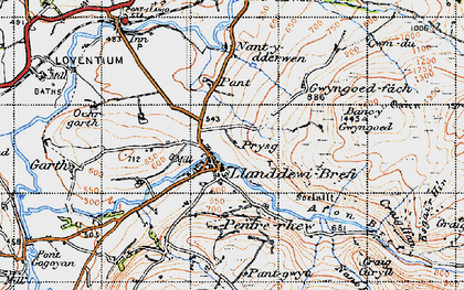 Old map of Banc-y-Gwyngoed in 1947