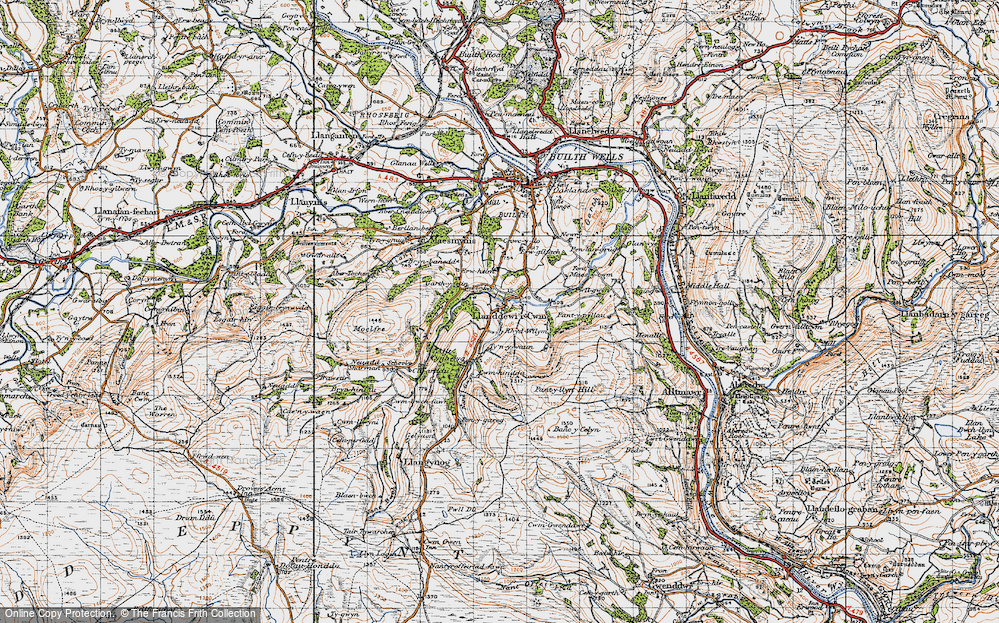 Old Map of Historic Map covering Banc y Celyn in 1947