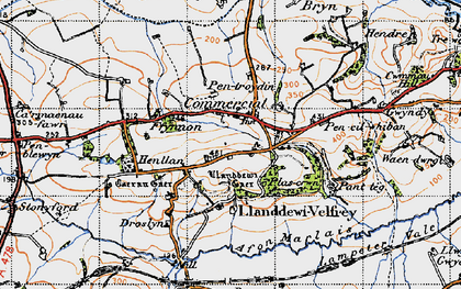 Old map of Llanddewi Velfrey in 1946