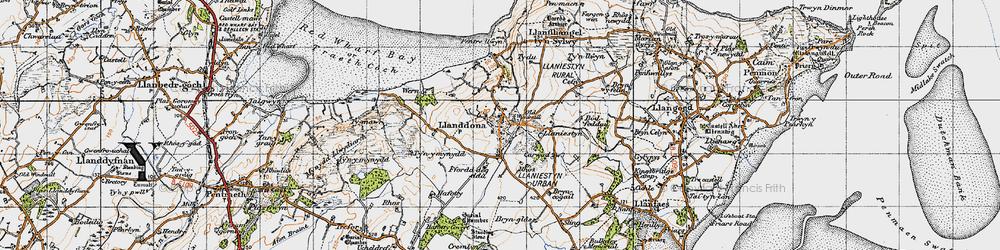 Old map of Llanddona in 1947