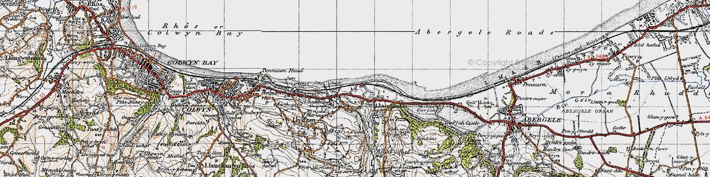 Old map of Llanddulas in 1947