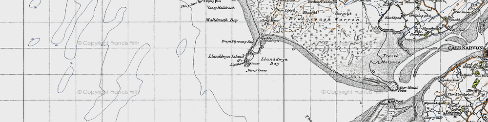 Old map of Ynys-y-cranc in 1947