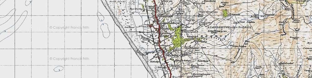 Old map of Llanddwywe in 1947