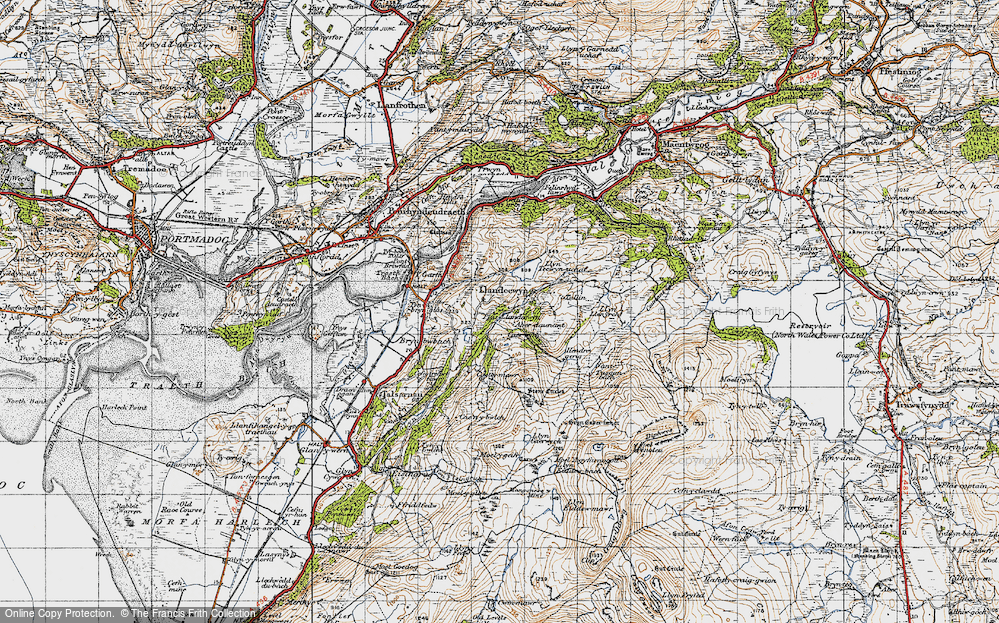 Old Map of Historic Map covering Y Gyrn in 1947