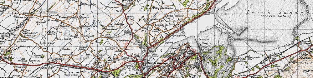 Old map of Ynys Gaint in 1947