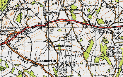 Old map of Llandevaud in 1946