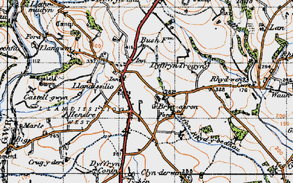 Old map of Afon Rhydybennau in 1946