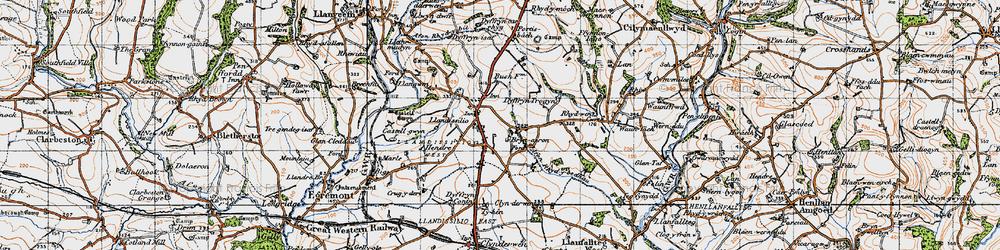 Old map of Afon Rhydybennau in 1946