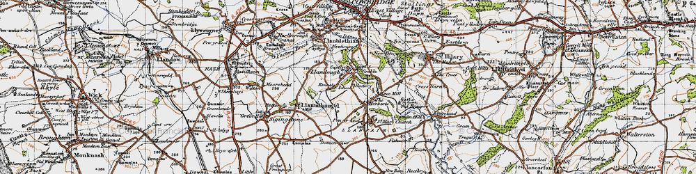 Old map of Llandough in 1947