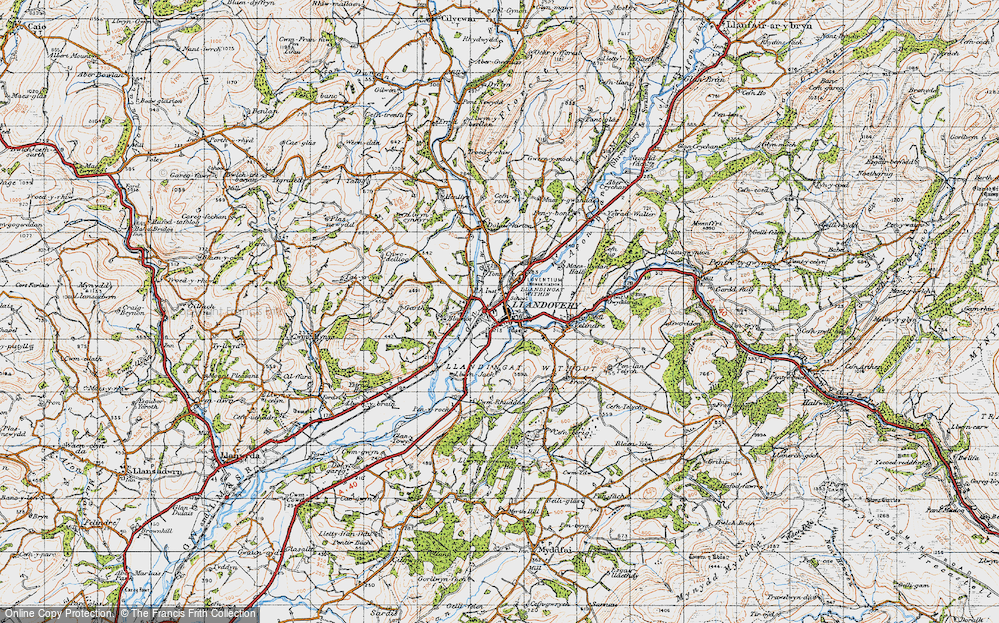Old Map of Historic Map covering Ystrad in 1947