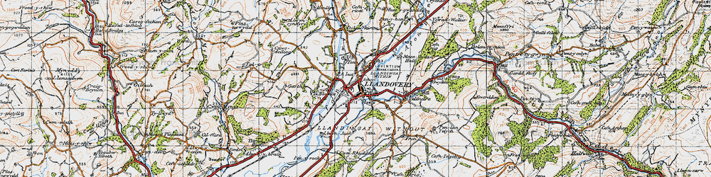 Old map of Llandovery in 1947