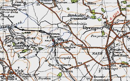 Old map of Llandow in 1947