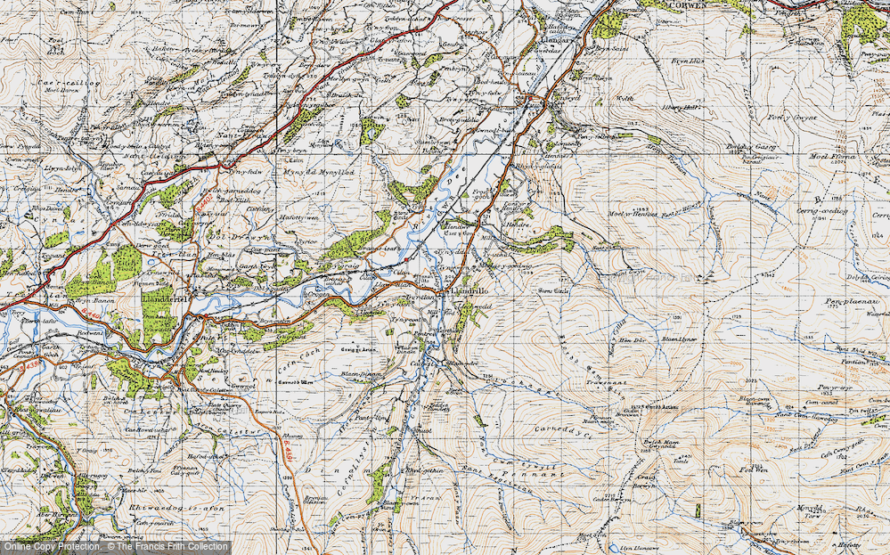 Old Map of Historic Map covering Afon Llynor in 1947