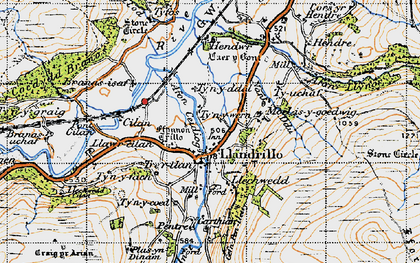 Old map of Llandrillo in 1947