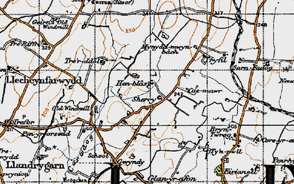 Old map of Llandrygan in 1947