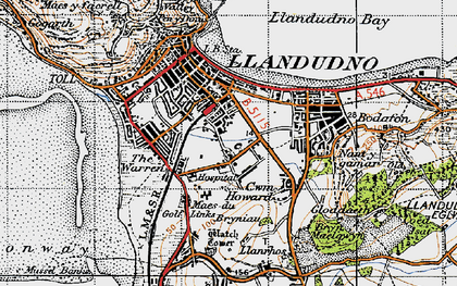 Old map of Llandudno in 1947