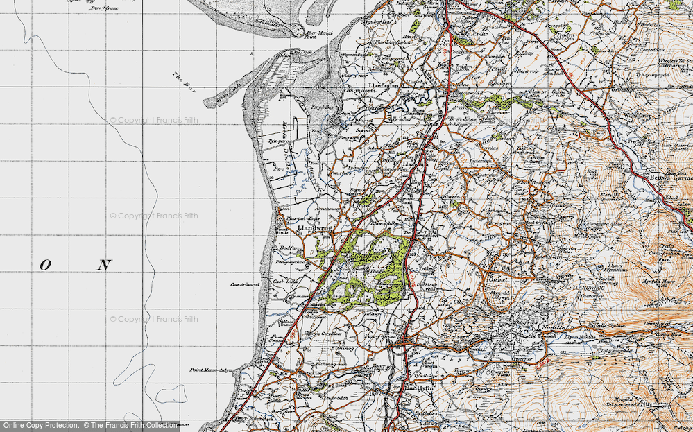 Old Map of Historic Map covering Afon Foryd in 1947