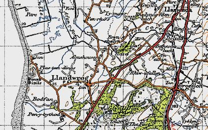 Old map of Llandwrog in 1947
