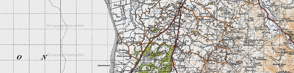 Old map of Afon Foryd in 1947