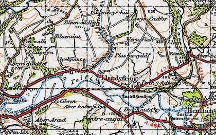 Old map of Aberhalen in 1947