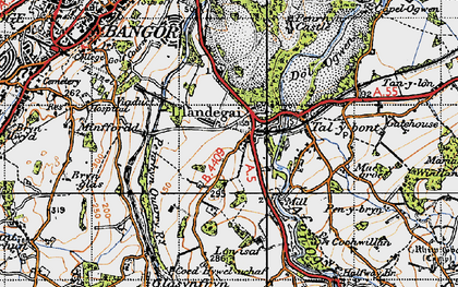Old map of Llandygai in 1947