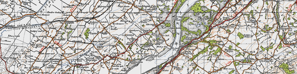 Old map of Afon Braint in 1947