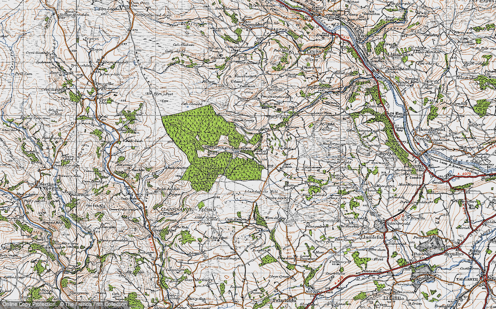 Old Map of Historic Map covering Ysgwydd Hwch in 1947