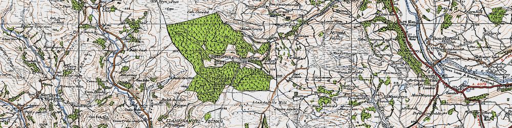 Old map of Ysgwydd Hwch in 1947