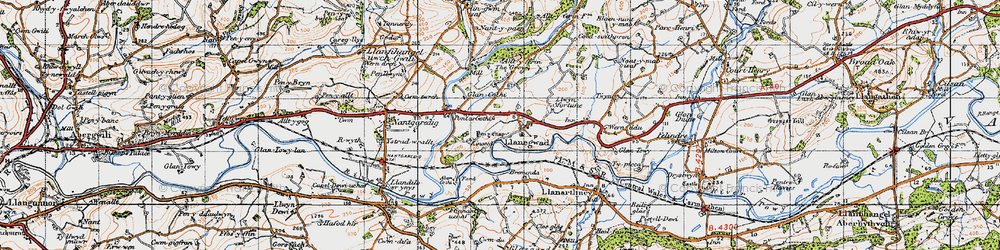 Old map of Afon Cothi in 1947