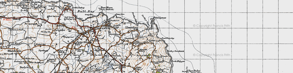 Old map of Llaneilian in 1947