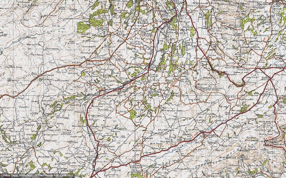Old Map of Historic Map covering Afon y Maes in 1947