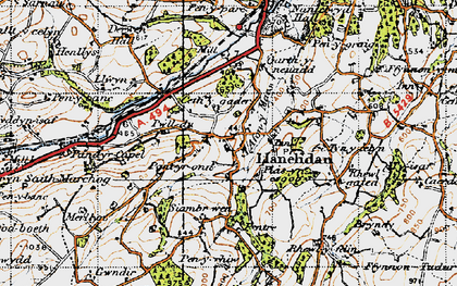 Old map of Llanelidan in 1947