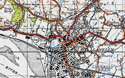 Old map of Llanelli in 1946