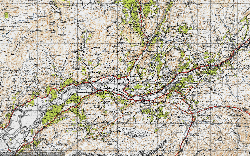 Old Map of Historic Map covering Afon Wnin in 1947