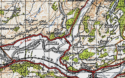 Old map of Afon Wnin in 1947