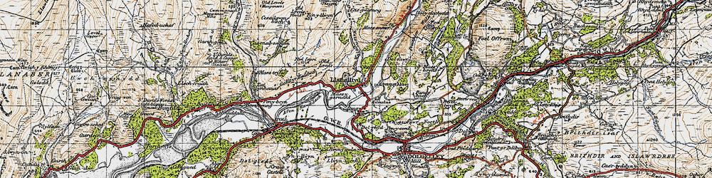 Old map of Afon Wnin in 1947